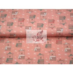 Téli mackók - rózsaszín - mintás biopamut jersey