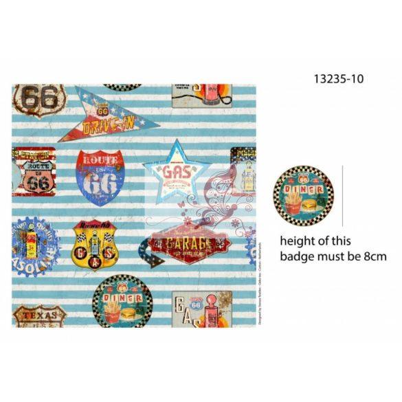 Route 66 (világoskék) - mintás pamut jersey