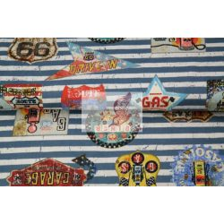 Route 66 (sötétkék) - mintás pamut jersey
