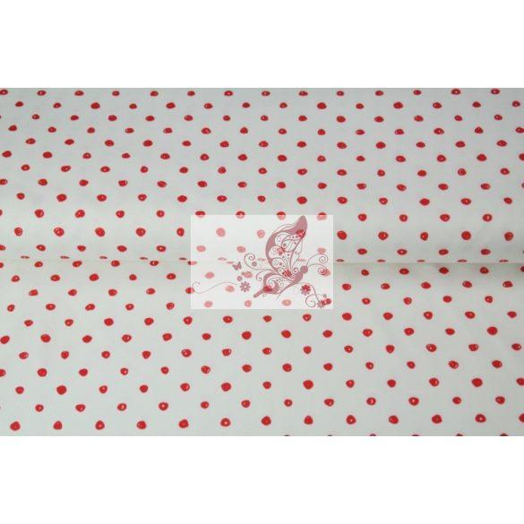 Firkált piros pöttyök - mintás pamut jersey