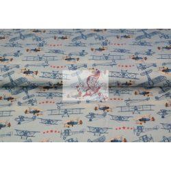 Retro repülők - mintás pamut jersey