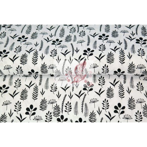 Fehér alapon fekete levelek - mintás pamut vászon