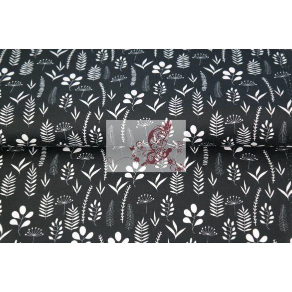 Fekete alapon levelek - mintás pamut vászon