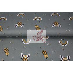 Oroszlán és szivárvány - mintás pamut jersey