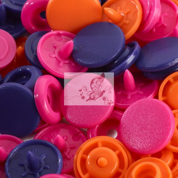 Prym love műanyag patent - rózsaszín-lila-narancssárga