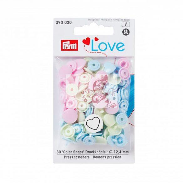 Prym Love patent szív alakú - kék, rózsaszín, zöld