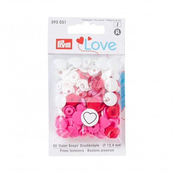 Prym Love szív alakú patent - piros-fehér-rózsaszín