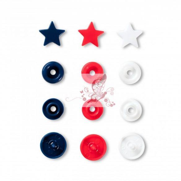 Prym Love csillag alakú patent - piros-fehér-sötétkék