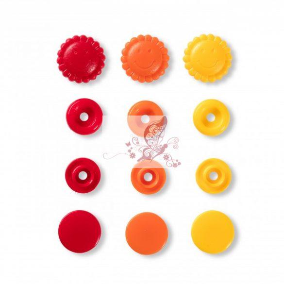 Prym love napocska alakú patent - piros-narancssárga-sárga