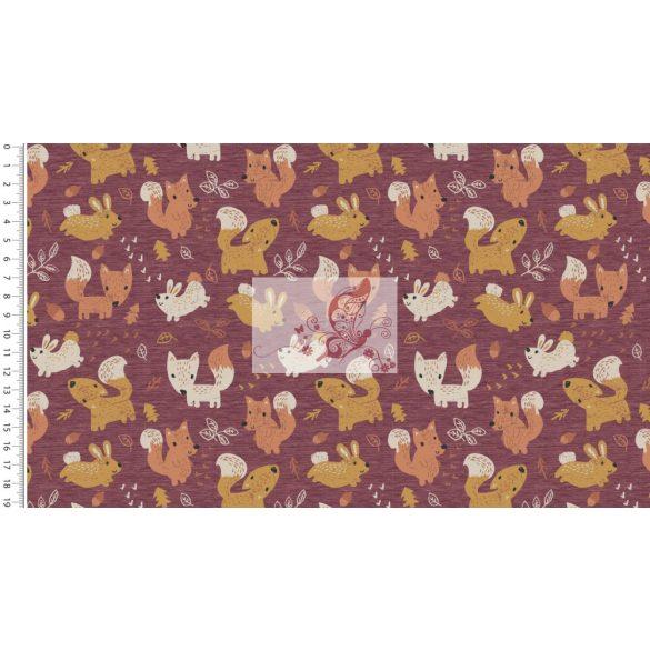 Róka  és nyuszi ősszel - bolyhos hátuljú pamut futter