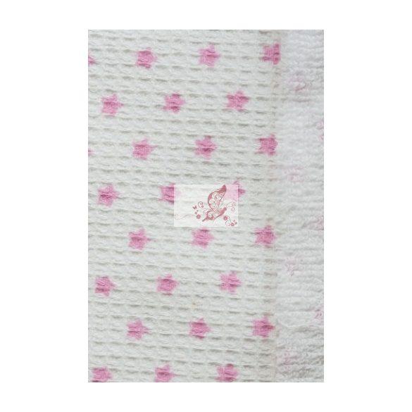Frottír hátuljú darázsszövet - rózsaszín csillagos