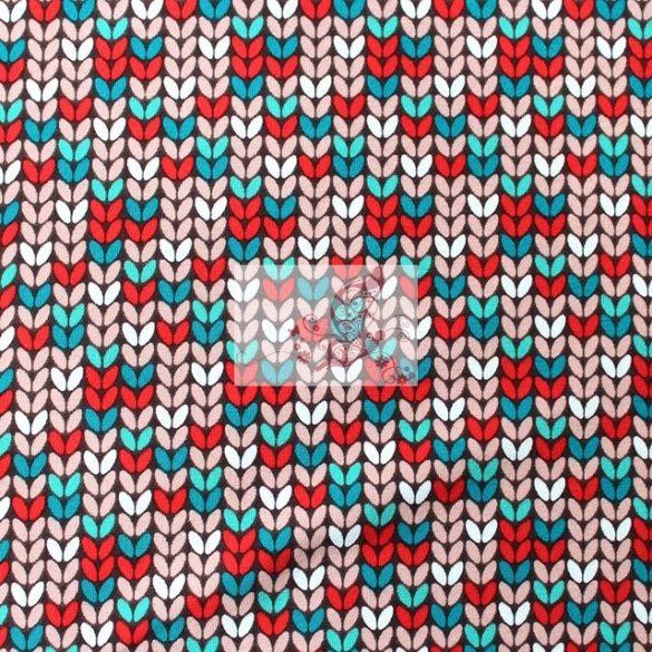 Kötött minta a téli őzikékhez - mintás organikus pamutjersey