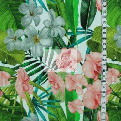 Trópusi sziget - trópusi virágmintás pamutjersey