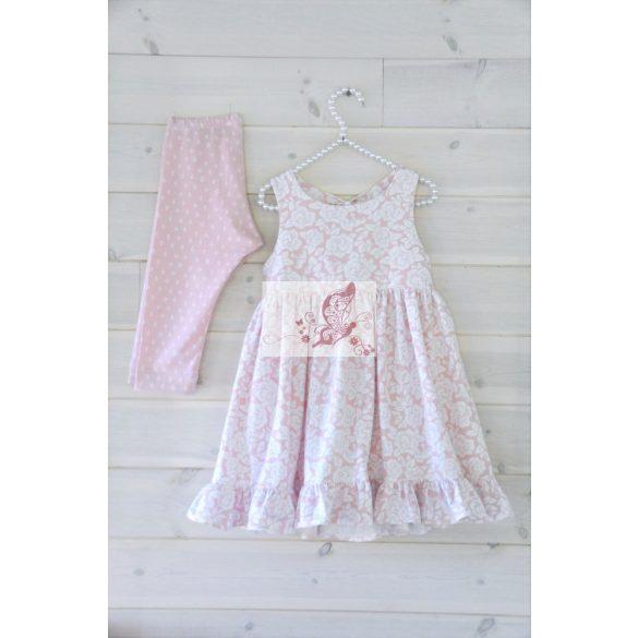 Hilda - rózsaszín alapon fehér virágminta - mintás pamutjersey